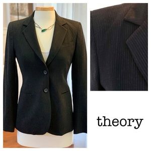 THEORY dark navy blue pinstripe 2 button blazer